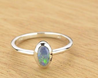 0.55ct Semi-Black Opal Ring in 925 Sterling Silver Size 8.5 SKU: 1979S046
