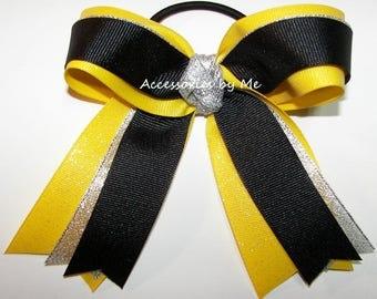 Gymnastics Bow, Sparkly Yellow Black Gymnastic Clip, Yellow Black Glittery Gymnast Hair Ties Elastics, Dance Cheer Bows, Bulk Cheap Price