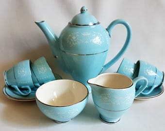Delightful Blue and White Arklow Pottery Coffee Set Belvedere Pattern 1930's