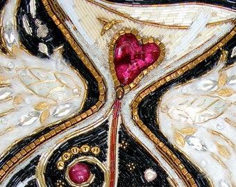 """Beaded Mosaic Art - """"Losing Heart"""" - White Lacquered Shadowbox - Mixed Media Hourglass and Winged Heart"""