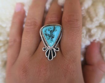 Sterling Silver Turquoise Ring Size 6.25 Handmade
