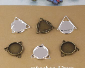 20 supports ring 12mm silver plated brass triangle pendant