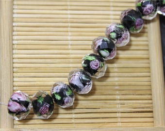10 glass beads Murano lampwork faceted