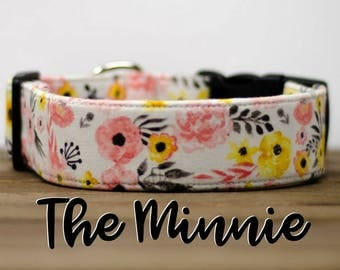 "Modern Pink Vintage Inspired Floral Dog Collar ""The Minnie"""