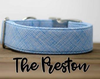 "Modern Light Blue Geometric Crosshatch Dog Collar ""The Preston"""