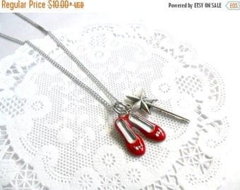ON SALE Ruby Red Slippers Wizard of Oz Necklace, With Wand, Dorothy's Slippers, Cute! :)