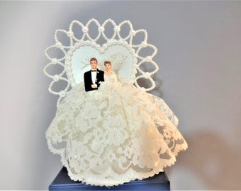 Vintage Wedding Cake Topper - Bride with Lace Princess Skirt and Groom Topper - Faux Pearl Heart - Cupid - Fretwork Base