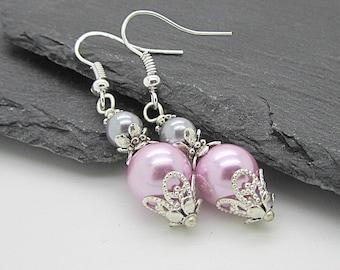 Grey and Pink Pearl Drop Earrings, Pink and Grey Bridesmaid Jewelery, Pearl Bridal Earrings, Matching Pearl Sets, Bridesmaid Gifts, Handmade