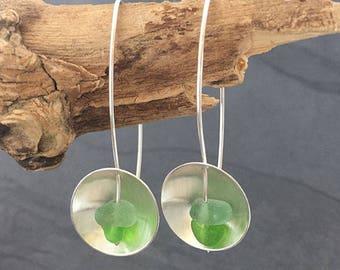 Green Sea Glass Dome Earrings