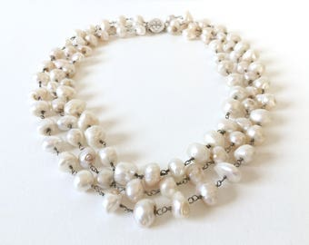 Large Sterling Silver Freshwater Pearl Triple Strand Necklace