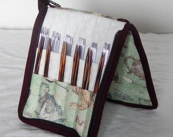 24 pair capacity Interchangeable and DPN knitting needle and crochet hook keeper case sized to hold up to US 11 Tea Party, teapots