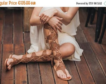 Brown Suede Leather Gladiator Sandals, Gladiators with Tassels, Women's Tall Gladiator Sandals, Embellished Sandals, Suede Leather Sandals