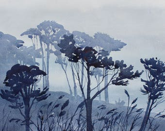 Tree painting, purple trees, mist landscape, tree landscape, Cornish coast , Durgan, Cornwall trees, original watercolour of trees