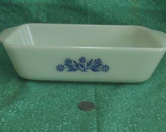Vintage Fire King #441 , 1  1/2 Quart Baking Dish / Loaf Pan Milk Glass & Blue CornFlowers w/ Tabbed Handles