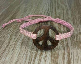 Pink Peace Bracelet - Pink Hemp Bracelet - Wooden Peace Sign Bracelet - Pink Braided Bracelet - Peace Symbol Bracelet  - Pink Bracelet Pink