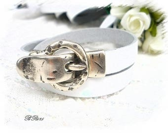 BR625 white genuine leather bracelet