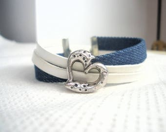 Bracelet ethnic cuff Denim Blue and White Leather heart