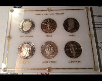 Original vintage Israel's Fight For Freedom 6 silver coin set