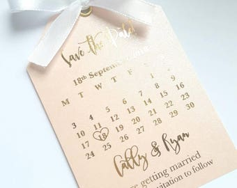 Blush save the date tag gold foil silver rose gold