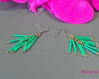 "Fancy ""Scoubidou"" green - medium Silver earrings"