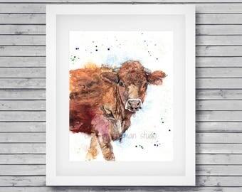 Jersey cow art print - farmhouse decor, brown cow art, jersey cow painting, cow wall decor, cow painting, farm animal art, cow lover gift