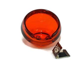 Vintage Viking Sphere Ashtray #6827 * Persimmon Orb * Orange Chunky Glass