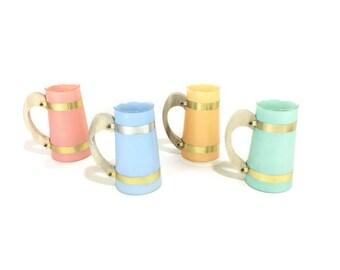 Vintage Siestaware Handled Glasses * Colored Glass Mugs * Mid Century Drinkware * Set of 4