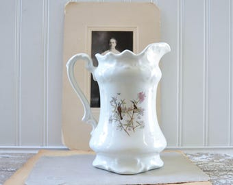 Vintage White Pitcher with Birds and Flowers Vase - Ceramic Shabby Chic Style