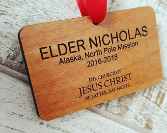 LDS Missionary Name Tag Christmas Ornament - OR_MTAG