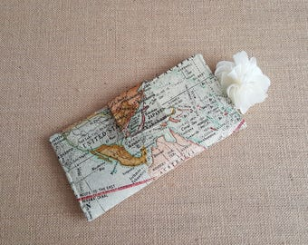 Womens Wallet, Fabric Wallet, Women's Bifold Wallet,  Map Wallet