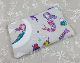 Mermaid Zip Pouch - Cute Coin Pouch - Change Purse Wallet - Small Gift ideas - Padded Zip Wallet - Fantasy Zipper Pouch