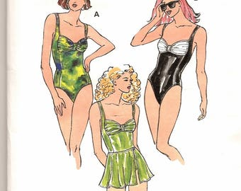 A 1-Pc., Gathered Bust, Classic or High Leg Swimsuit & Overskirt Pattern for Women: Uncut/Factory Sealed - Sizes XS-S-M-L-XL ~ Kwik Sew 2500