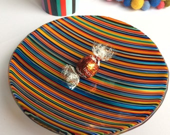 Fused glass art plate, Fused glass bowl, Fused glass dish, rainbow