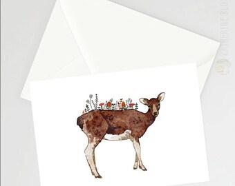 Autumn Doe A6 Greetings Card