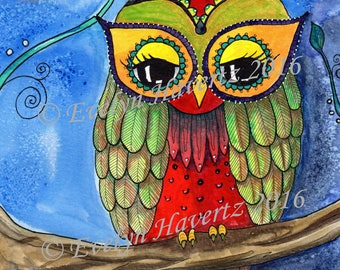 "Whimsical Owl ""Nellie"", mixed-media painting on watercolor paper"