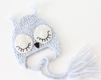 Newborn owl - Owl boys hat - Photo prop hat - Newborn props - Baby boy props - Photo prop owl - Baby boy props - Photo prop owl hat - Blue