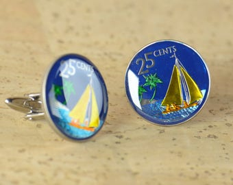 Cufflinks Bahamas coin.Ship cuff links,sailing cuff links.Enameled cuff links.Mens accessories.Big Size