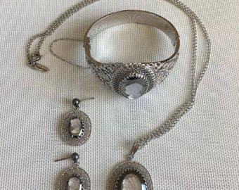 Vintage Whiting & Davis Mesh Bags Parure Necklace Earrings Bracelet CAMEO Set 2.18.10