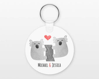 Koala Keychain, Couple Keychain Personalized Keychain, Boyfriend Keychain Girlfriend Keychain, Couple Key Chain, Animal Keychain, Keyring