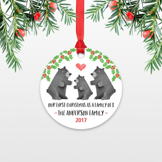 Black Bear New Parents Christmas Ornaments Family Christmas Ornament First Christmas Baby Personalized Christmas Ornament Family of 3 Three