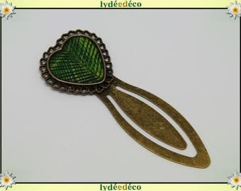 Bookmark retro green plant leaf motif yellow resin and brass bronze