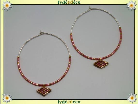 925 sterling silver hoop earrings beadwork Japanese pink coral gold 45mm diameter round