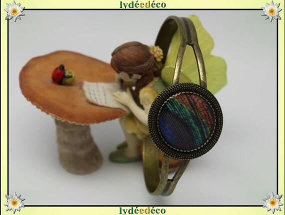 Resin bracelet feather peacock blue green brown bronze brass adjustable 20 mm