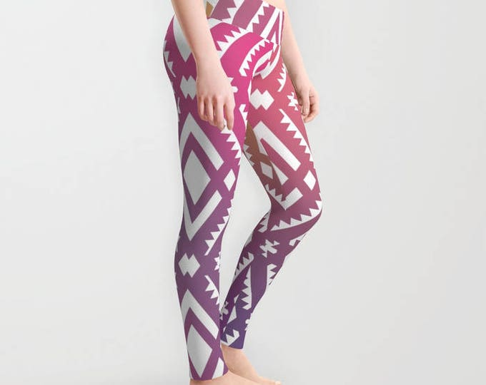 Leggings - Pink and Purple Tribal Print - Yoga Pants - Yoga Leggings - Tights - Made to Order