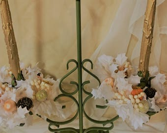 Large Tole Candle Holder Candelabra Mid-century Green Christmas Shabby Chic Rings Wooden Candles