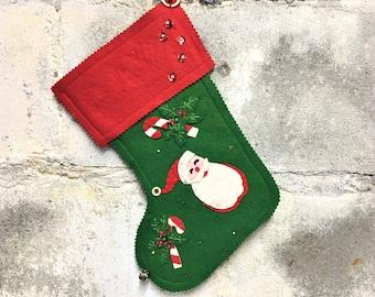 Vintage Christmas Stocking Handmade Felt Sequins Santa Candy Cane
