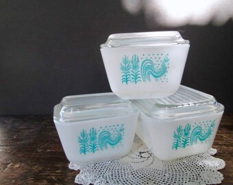 3 Vintage Pyrex Turquoise Amish Butterprint Refrigerator Dishes