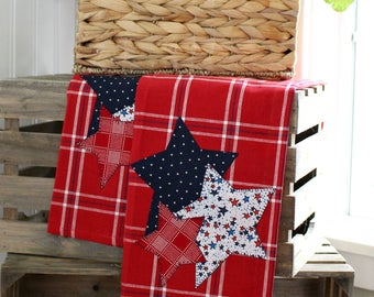 Kitchen Towel, 4th of July Kitchen Towel, Americana Towel, Applique Kitchen Towel, Stars Towel, Hostess Gift