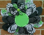 Unique Zebra & Leaf Print Flip Flop Wreath Can be Personalized! Door Wall Decor Beach Garden