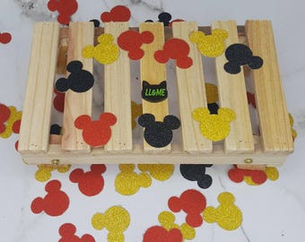 Black red and gold mouse head confetti, table scatter, photo prop, magic mail,